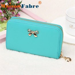 cheap leather purses wholesale NZ - Wholesale-New brand cartera billetera mujer 2015 cheap Women Korean Cute Bowknot Purse Solid Long Leather Wallet Handbag