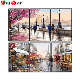 $enCountryForm.capitalKeyWord Australia - 3Pcs Frameless Tower Paris France DIY diamond Painting Cherry Blossoms Lover Landscape Diamond Embroidery Home Wall Art WHH