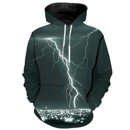 DesigneD hooDeD hooDy online shopping - 2019 Men Spring Hoodies Loose Thin Pullovers Unisex Design Sweatshirts D Print Thunder Galaxy Hooded Male Hoody Tops