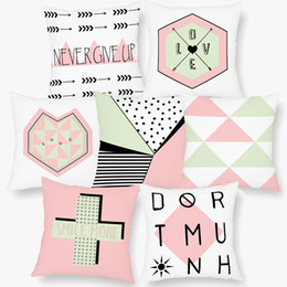 smile soft case Australia - 9 Styles LOVE SMILE MORE NEVER GIVE UP Letter Cushion Covers Modern Geometric Triangles Plaids Cushion Cover Home Decor Soft Pillow Case