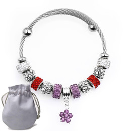 $enCountryForm.capitalKeyWord NZ - 5pcs Stainless Steel Wire Charms Bracelets Fit Pandora Women Openwork Murano Glass Red Crystal Beads Bangle Purple Cubic zircon Pendant P164