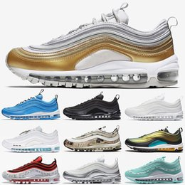 media pack NZ - High Quality 97s Running Shoes Metallic Pack Gold Laser X Jayson Tatum Triple White Black Bullet Newspaper Premium Outdoor Sneakers 36-45