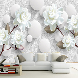 $enCountryForm.capitalKeyWord Australia - Custom 3D Stereoscopic Mural Wallpaper European Fashion Beautiful White Peony Bedroom TV Backdrop Wall Paper Modern Home Decor arkadi