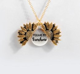 gold sunflower pendant NZ - 2020 New Women Gold Necklace Custom You are my sunshine Open Locket Sunflower Pendant Necklace Dropshipping
