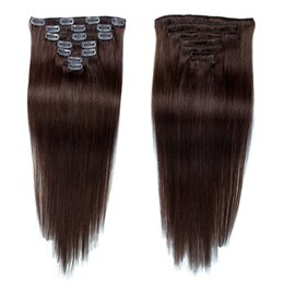 Clip Human Hair Extensions Remy 24 UK - Wholesale Dark Brown #2 Virgin Remy Human Hair Seamless Clip in Hair Extensions