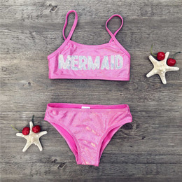 swimwear infantil 2019 - Kids 2 Pieces Swimwear Girls Sequined Hot Gold Bathing Sets Kid Swimming Suit Children Bikinis Baby Set New Biquini Infa