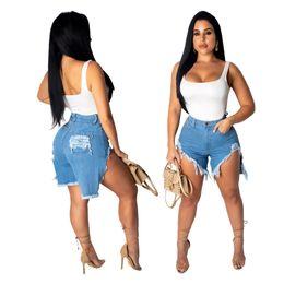 Fly Blue Australia - 2019 New Sale Light Blue Washed Denim Ripped Holes Women Short Jeans Ziipper Fly High Waist Short Front Long Back Straight Girls Shorts