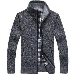 Thick Sweater Jacket Warm Australia - 2019 Autumn Winter Men's SweaterCoat Faux Fur Wool Sweater Jackets Men Zipper Knitted Thick Coat Warm Casual Knitwear M-3XL Casual Clothing