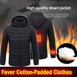 high heat coating Australia - High Quality Heated Jackets Vest Down Cotton Mens Women Outdoor Coat USB Electric Heating Hooded Jackets Warm Winter ThermalCoat