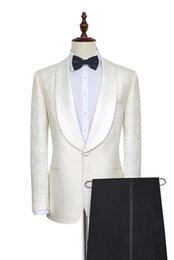 two piece suits for mens wedding 2019 - Handsome White With Black Pants Mens Wedding Tuxedos Blazer Suits For Mens Weddings Bestmen Bridegroom Mens Formal Two P