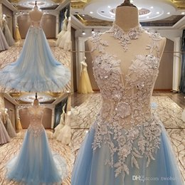 $enCountryForm.capitalKeyWord NZ - New elegant long party dress corset back beaded tulle high neck A line evening gowns sale real photos