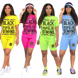 color arts Canada - Women Designer Summer Tracksuit 2 Piece Set Short Sleeve T-shirt+Shorts Sports Suit Letter Outfits Solid Color Jogging Suit Clothing 2573