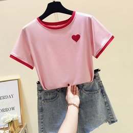 f32ee81f23 Love Embroidered Short Sleeve Tee Summer New 2019 Korean Cute O-Neck Tshirt  Schoolgirl Harajuku Kawaii White Pink T-Shirt