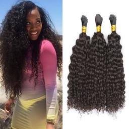 Brazilian afro Braid online shopping - Mongolian Kinky Curly Bulk Hair Afro Hair Bulk For Braiding No Attachment Kinky Curly Mongolian Bulk Hair