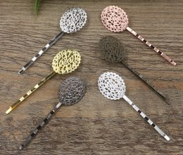 Flower Hair Clip Vintage Australia - 40pcs 55*17*21mm Metal bobby pin vintage flower hairpin rose gold silver hairclip antique bronze hair clip barrettes diy jewelry