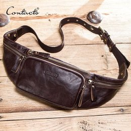 Leather smaLL waist bag for men online shopping - CONTACT S cow leather men waist bag new casual small fanny pack male waist pack for cell phone and credit cards travel chest