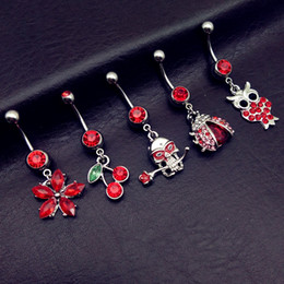 owl buttons Australia - 5pcs new arrivals luxury red owl skull rose flower cherry ladybug navel belly bar button rings body piercing jewelry