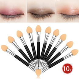 eyeshadow applicator brush Australia - Fashion 10pcs 1 set Cosmetic Brushes Women Makeup Eyeshadow Eyeliner Sponge Lip Brush Set Applicator Beauty Double-Ended Disposable