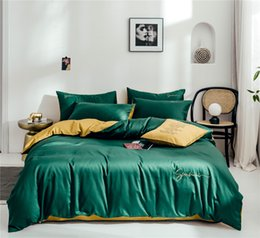 Solid pink quilt online shopping - Designer Bedding Sets set Cotton Solid Color Embroidery Bed Sheet Quilt Cover Duvet Cover Pillowcase Soft Home Luxury Bedding