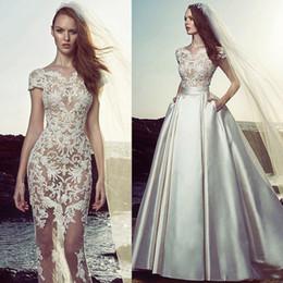 Zuhair Murad Mermaid Wedding Dresses NZ - Zuhair Murad 2019 Beach Boho Mermaid Wedding Dresses With Detachable Skirt Lace Applique Sexy See Through Bridal Gowns Cap Sleeve Dress