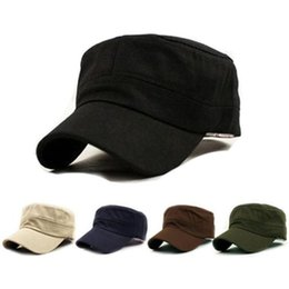 d781f6fc052 Flat top hat Classic Plain Vintage Army fashion Cadet Style Cotton Cap Hat  Adjustable flat top student fashion casual hat  17433