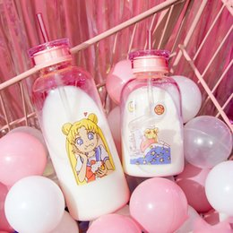 $enCountryForm.capitalKeyWord Australia - Japanese Cute Girl Cartoon Bottle Sippy Transparent Glass Bottle Student Large Capacity Leak-proof Drink Bottles No Sleeve Y19070303