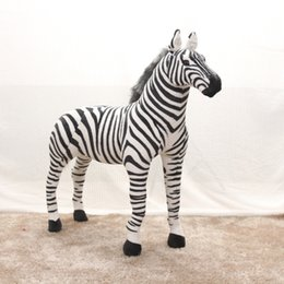 zebra kids toy Australia - 90cm Large Pretty Standing Zebra lively Simulated Stuffed Animals can ride model Kids mount decorat Plush doll Children toy gift