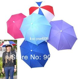 umbrella brolly Canada - Foldable Umbrella Hat Golf Fishing Hunting Camping Sun Brolly Umbrella Hat Anti-sunburn Cap New Outdoor Sports Supplies