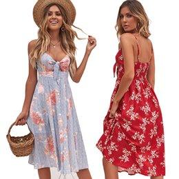 2019 dernière conception été femme robe Floral imprimé femmes vêtements robes sans manches A-Line casual jupe sexy plage vêtements de vêtements en Solde