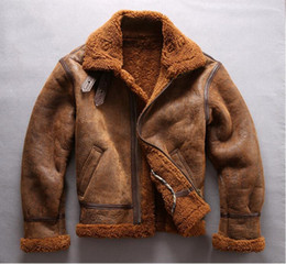 $enCountryForm.capitalKeyWord Australia - Cold resistant Sheep shearing double face fur jackets Brown flight jackets Lamb fur collar AVIREX FLY sheepskin genuine leather jackets