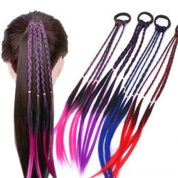 rubber hair wigs Australia - 2019 New Colorful Twisted Braid Wigs Ponytail Headbands Rubber Hair Accessories Accessories Rose Children Girls Purple Fashion Hairs Bands H