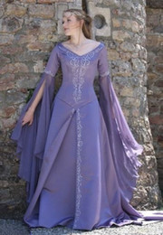 Lavender Long Prom Dresses Australia - Dubai Abaya Caftan Long Sleeve Prom Dresses Lavender Medieval Flapper Formal Evening Gown V Neck Victorian Gothic Prom Dress 2019 Boho Cheap