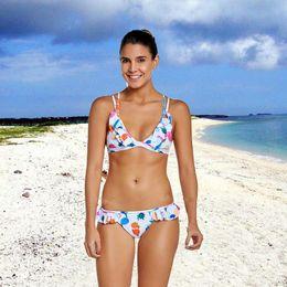 6e8e7e3b36 Women's Sexy Split Bikini Swimsuit Fruit Print High Waist Two Pieces  Triangle Padded Stripe Tassel Swimsuit for Beach Seaside
