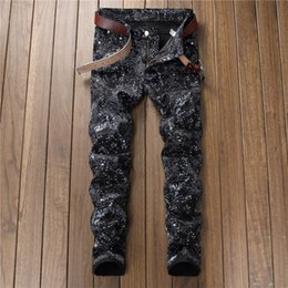 Wholesale Mens Cool Designer Brand Pencil Jeans digital print pants feitong Cotton Jeans Men Spring MenCloth fashion elastic feet casual trousers