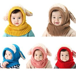 e3eb034ab00 Baby Kids Winter Crochet Knitted Hat Scarf Contrast Color Plush Patchwork  Hooded Earflaps Cute Puppy Ears Beanie Cap Neck Warmer