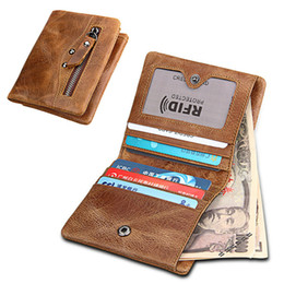 block brown UK - Retro Cow Leather RFID Blocking Protected Card Photo Cash Holder Wallet For Men women