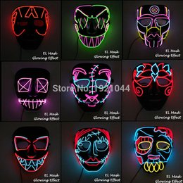 Halloween Carnival Adult Party Decorations NZ - New Design El Wire Mask Led Luminous Mask Rave Costume Props Flashing Cosplay Mask For Halloween Carnival Party Decoration