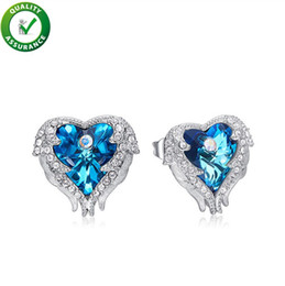 Luxury Brand Designer Jewelry Women Earrings Iced Out Bling Diamond  Swarovski Earrings Women Silver Studs Ear Ring Crystal Heart Ocean 2417fbc3a3cd