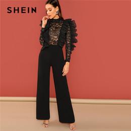 e514ad75c33 SHEIN Black Ruffle Trim Sheer Lace Bodice Palazzo Jumpsuit Elegant High  Waist Skinny Plain Jumpsuit Autumn Women Party Jumpsuits