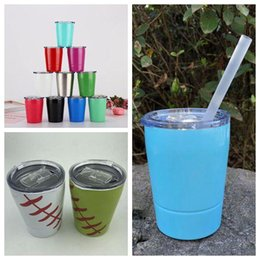 Wholesale 11 Colors 9oz Kids Milk Cup Stainless Steel Cup Coffee Mugs Stemless Wine Glass Beer Mug Outdoor Car Cups CCA11350 25pcs