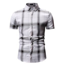 Hot Office Shirts Australia - Male Plaid Print Shirt Turn-down Collar Tops Office Wear Clothes Men Blouse Covered Button Man Shirts Short Sleeve 2019 Hot Sale