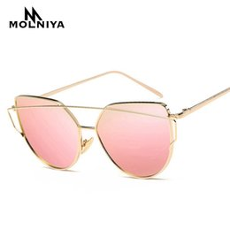 5f0c7a0377a1 2019 New Fashion Brand Cat Eye Sunglasses Women Metal Twin-Beams Sun glasses  Female Retro Coating Mirror Glasses Flat Panel Lens