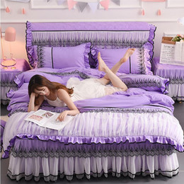 $enCountryForm.capitalKeyWord NZ - Solid Color Princess Bedspread Bedding Sets 4pcs Lace Bedclothes Bed Skirt Purple Duvet Cover Bedlinen Fitted Sheet Pillowcases
