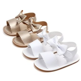baby moccasins soft sole NZ - Baby Girl Cute Summer Shoes PU Leather Baby Moccasins Moccs Shoes Bow Fringe Soft Rubber Soled Non-slip Footwear Crib