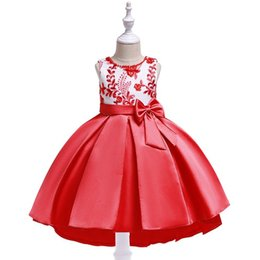 Winter nails online shopping - New Nail beaded Embroidered Girls Dresses Twill Satin Princess Flower Kids Performing Swallow tail Children s Boutique Show Peng Skirt