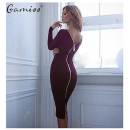 tight dresses street style Australia - Gamiss Bodycon Sheath Dress Long Sleeve Party Sexy Dresses Women Clothing Back Full Zipper Robe Sexy Pencil Tight Dress Vestidos Y19050905