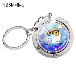 $enCountryForm.capitalKeyWord Australia - Fashion Lovely Animals Cute Owls Art Photos Bag Holder Silver Keychain Retro Owls Pictures Women Bag Accessories Key Rings
