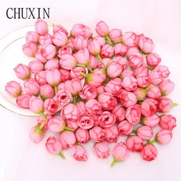yellow rose buds UK - Home & Garden 100pcs Artificial silk mini rose bud wedding scene layout flower wall production supporting material wrist flower production