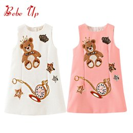 $enCountryForm.capitalKeyWord Australia - Girls Princess Dress Bear Star Print Children's Party Dress Sleeveless Summer Children Clothing Dress For Teenager Toddler WhiteMX190822