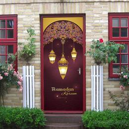 $enCountryForm.capitalKeyWord Australia - 2Pcs Set Muslin Raomanda Door Stickers Islamic Wall Sticker Bedroom Living Room Decor Wallpaper Poster PVC Waterproof Decal